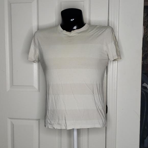 🤯3/$12 Banana Republic Cream Striped Shirt Small